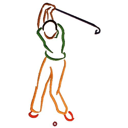 Golfer Outline Embroidery Design Annthegran