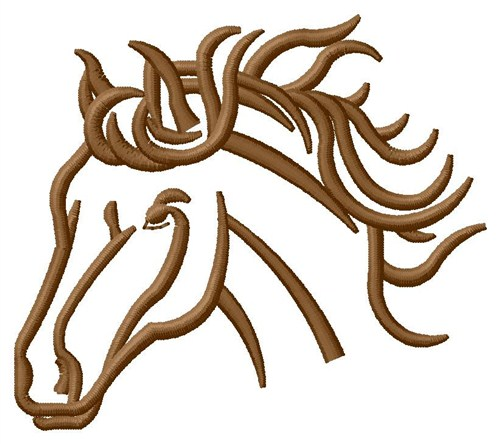 Brown Horse Head Embroidery Design  Outlines Embroidery