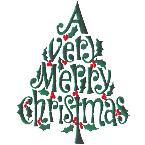Merry Christmas Tree Embroidery Design Annthegran