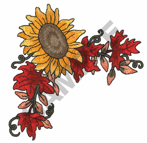 SUNFLOWER CORNER BORDER Embroidery Design | AnnTheGran