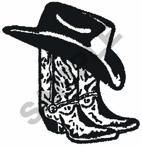 09400322a91 COWBOY BOOTS AND HAT Embroidery Design