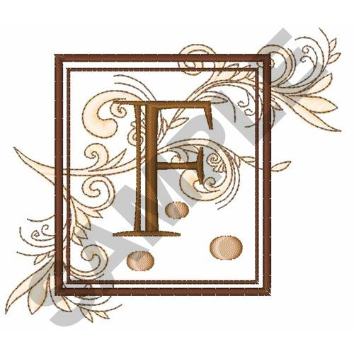 FANCY SQUARE LETTER F Embroidery Design