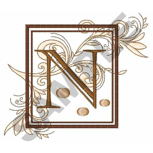 Fancy Square Letter N Embroidery Design Annthegran