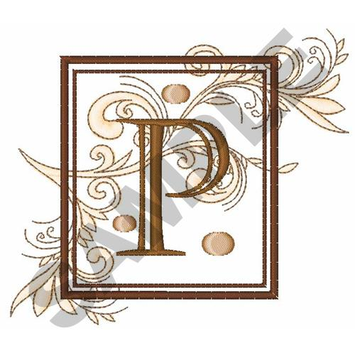 FANCY SQUARE LETTER P Embroidery Design