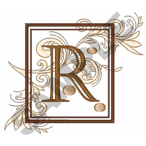 FANCY SQUARE LETTER R Embroidery Design | AnnTheGran