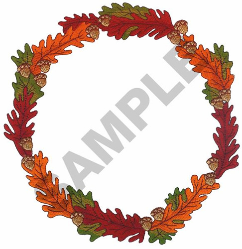 Fall leaves border with acorns embroidery design annthegran