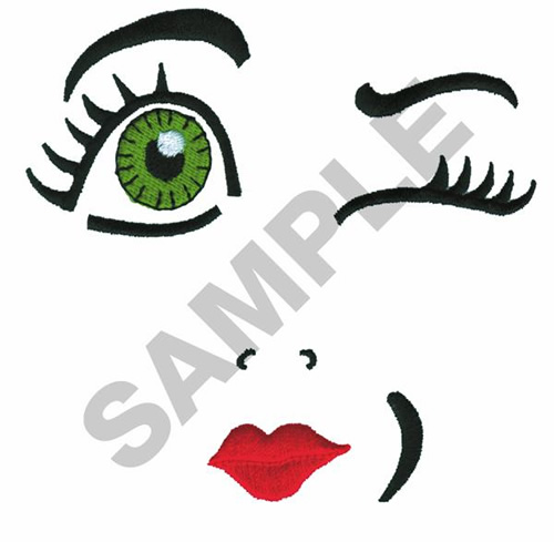 DOLL FACE WINKING Embroidery Design