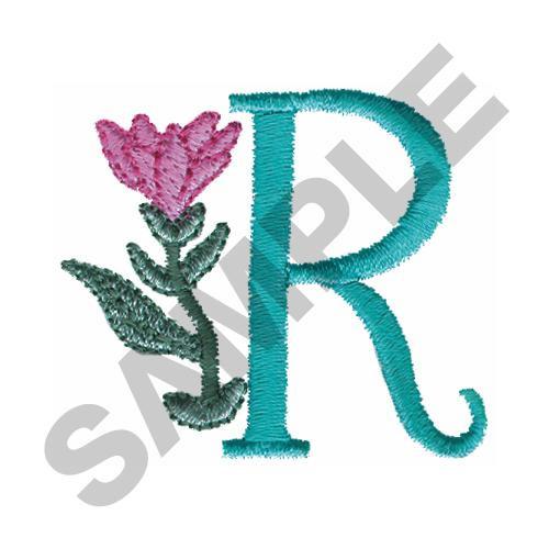 FLOWER LETTER R Embroidery Design