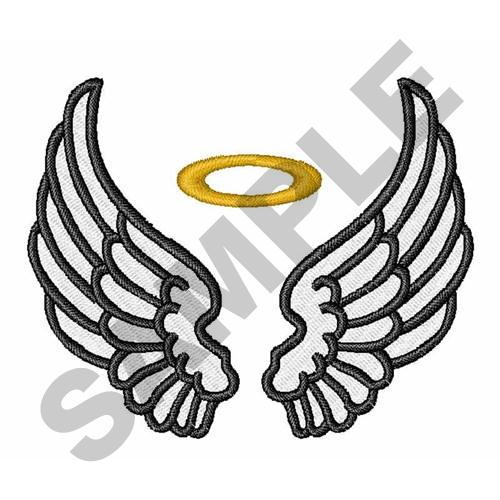 546b0d376 ANGEL WINGS WITH HALO Embroidery Design | AnnTheGran
