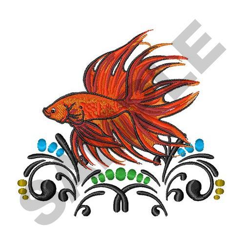 Betta fish artsy embroidery design annthegran