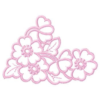 Pink Flowers Outline Embroidery Design Annthegran