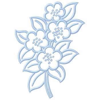 Blue Flower Outline Embroidery Design Annthegran