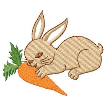 Free embroidery designs cute embroidery designs - Rabbit Eating Carrot Embroidery Design Mammals