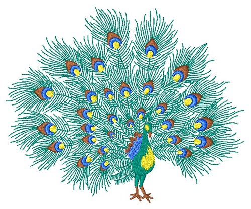 machine embroidery peacock