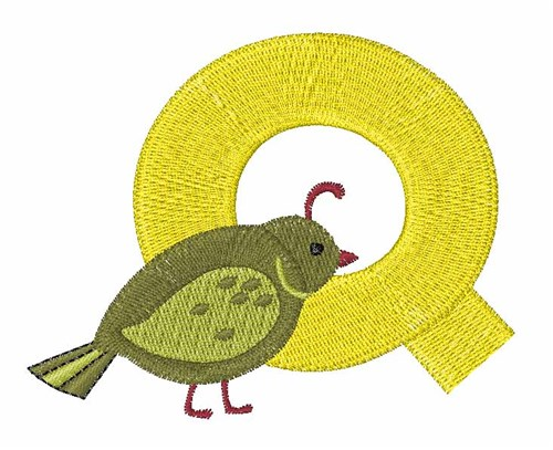 Animal alphabet q embroidery design annthegran