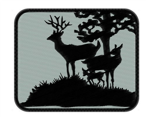 Deer Family Silhouette Embroidery Design Annthegran
