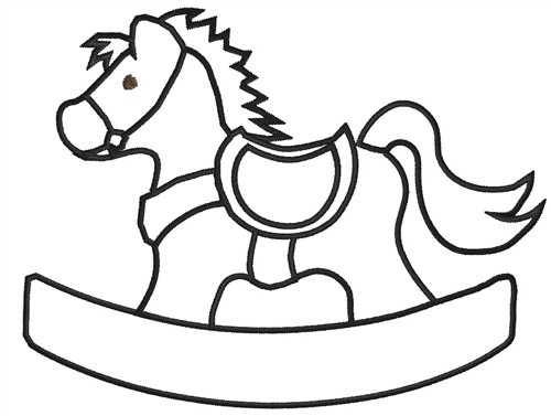 rocking horse embroidery design annthegran - Baby Rocking Horse Coloring Pages