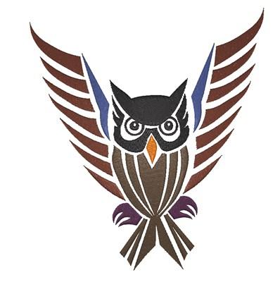 Tribal Owl Color Embroidery Design Annthegran