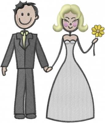 stick wedding couple embroidery design