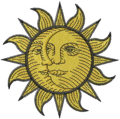 sun moon face embroidery design annthegran