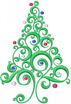 Nice Christmas Tree Swirl Embroidery Design