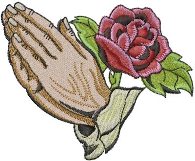 94e841759b9a5 Praying Hands With Rose Embroidery Design | AnnTheGran