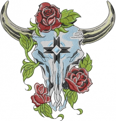 Steer Skull With Roses Embroidery Design Annthegran