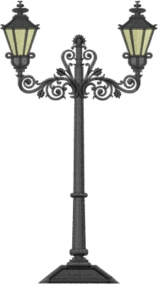 Antique Street Lamp Embroidery Design