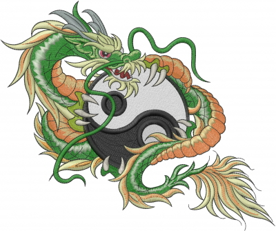 Dragon Yin Yang Embroidery Design
