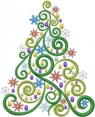 Swirl Christmas Tree Embroidery Design Annthegran