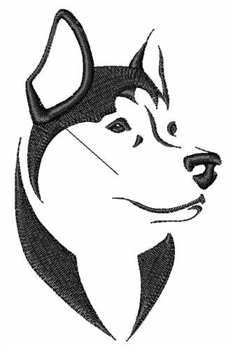 Husky Head Outline Embroidery Design Annthegran