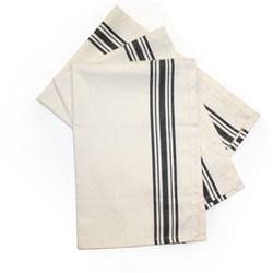 Black Striped Herringbone Weave Dish Towels