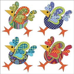 "Funky Chicken - 8"" Set - Dotz Applique Pieces"