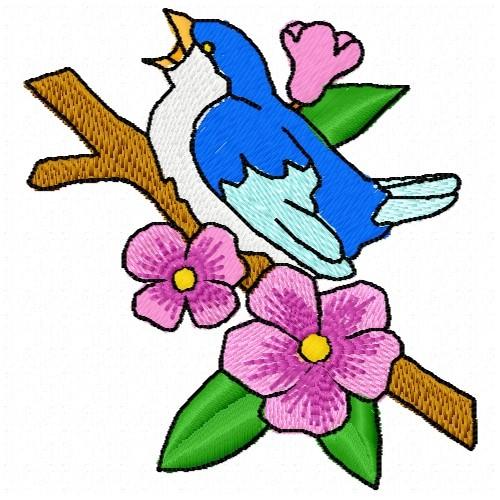 Spring Embroidery Bird Embroidery Applique Design Cute Bird Singing Applique Applique Patterns-Instant Download-PES
